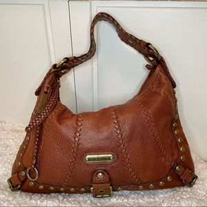 Isabella Fiore Brown Cognac Leather Bag w/ studs